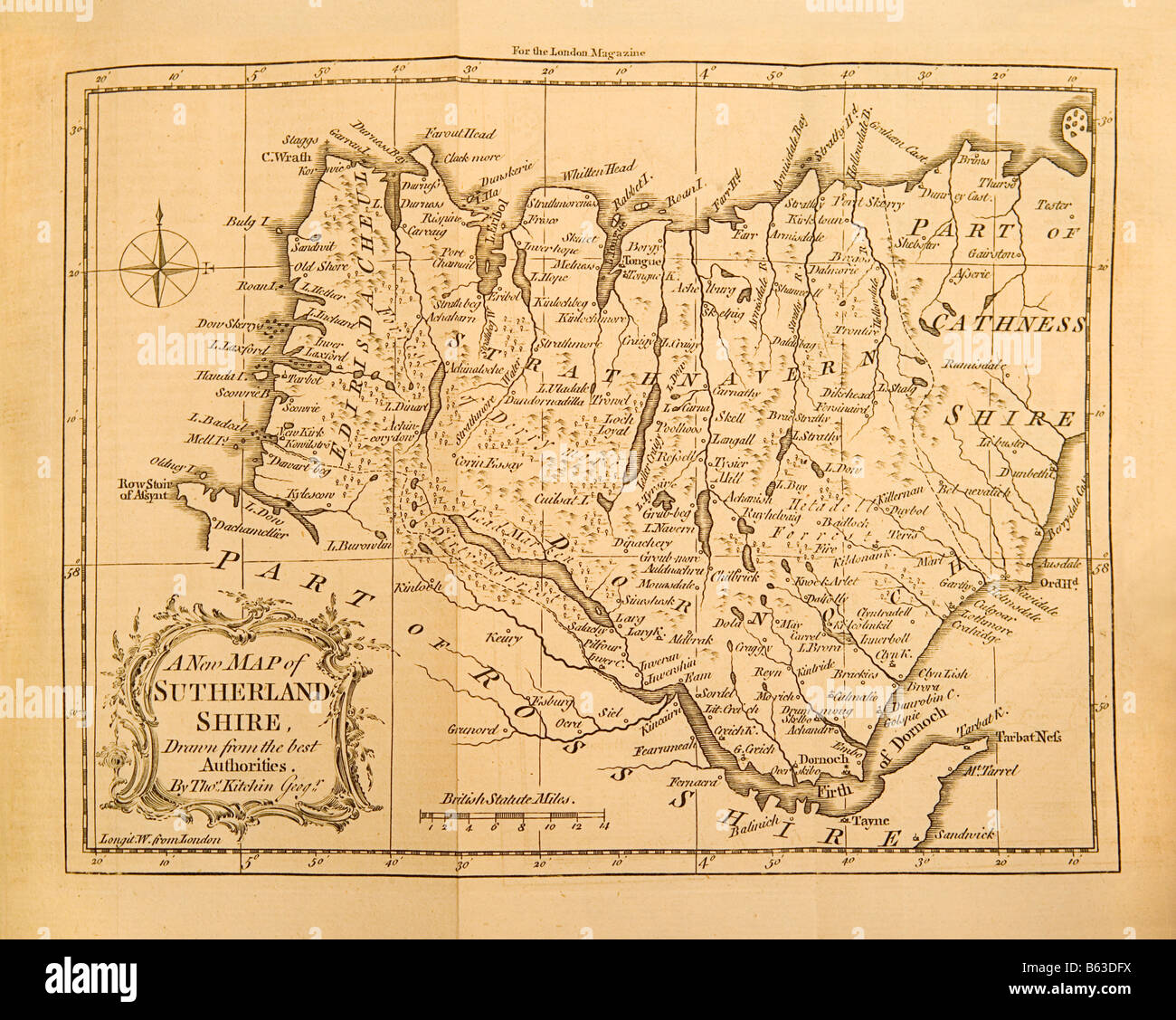 An old map from 1761 of Sutherlandshire county in England Stock