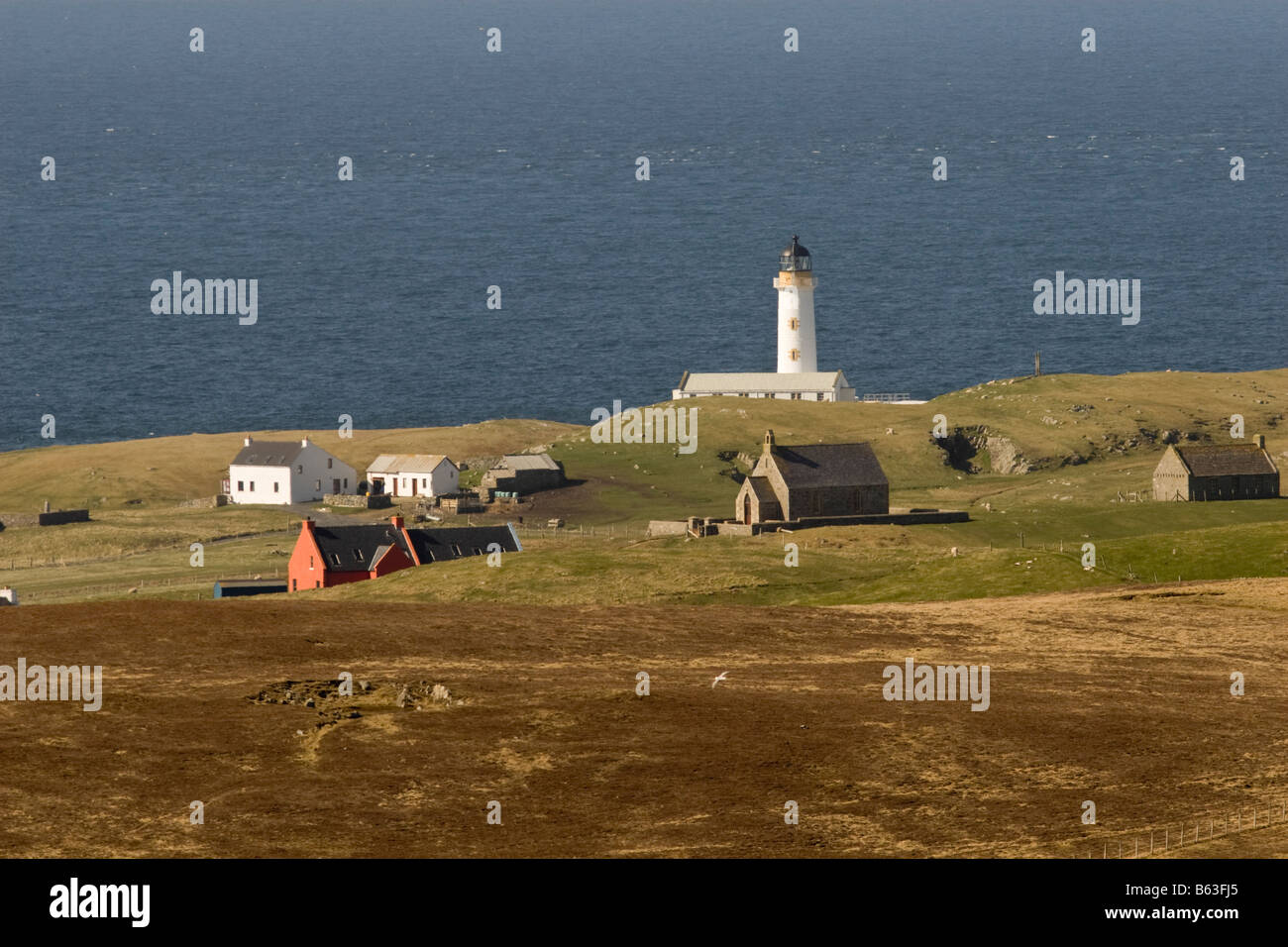 Houses and South Lighthouse on Fair Isle in Shetland Stock Photo ...