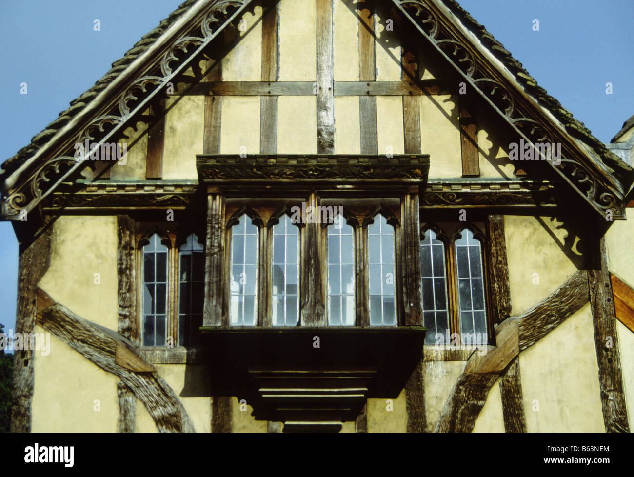 Tudor Facade exterior close up of the facade of a tudor house, showing wooden