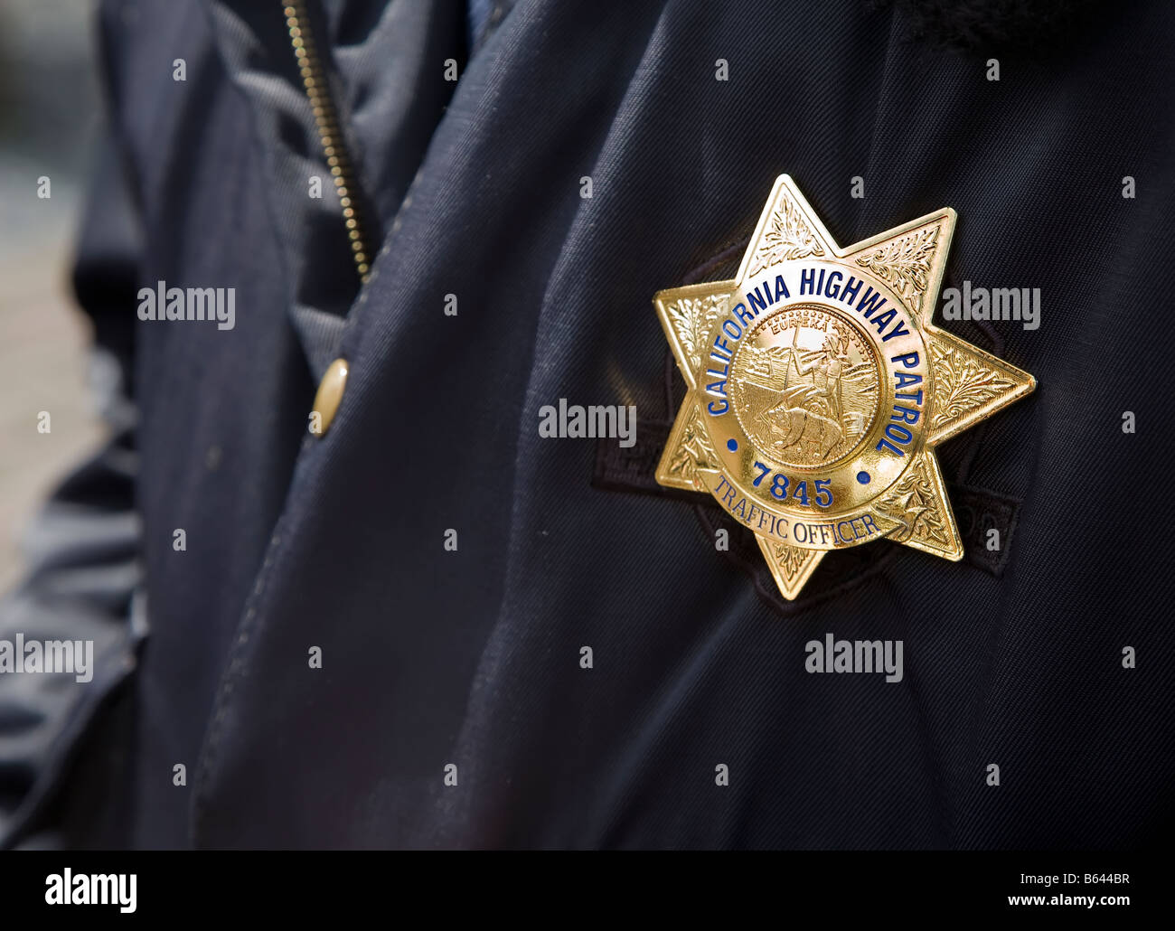california highway patrol traffic officer police badge stock photo