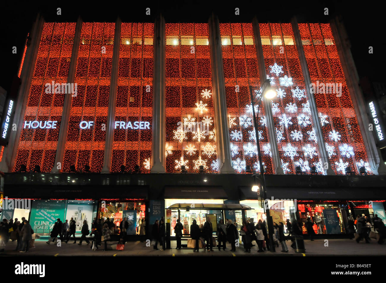 house of fraser department store oxford street with christmas lights west end london england uk - Christmas Light Store