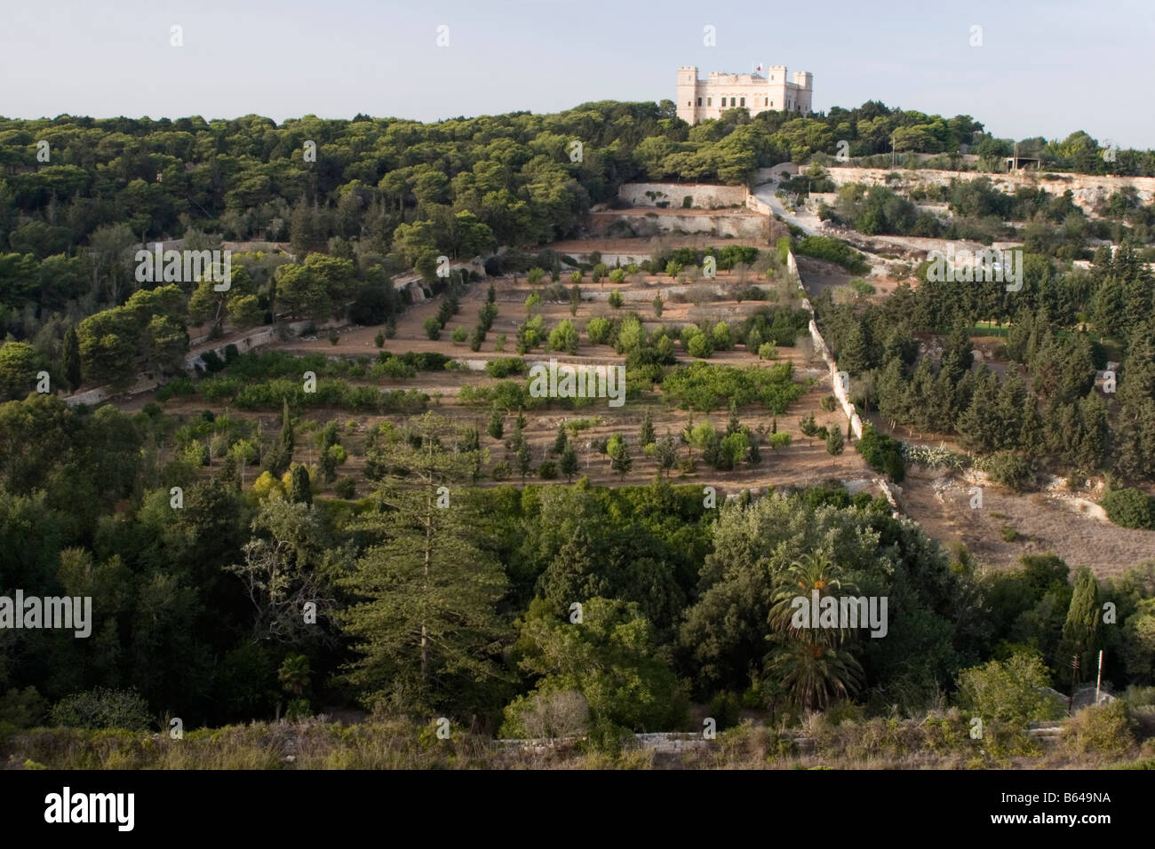 Buskett Gardens And Verdala Palace In Malta Stock Photo