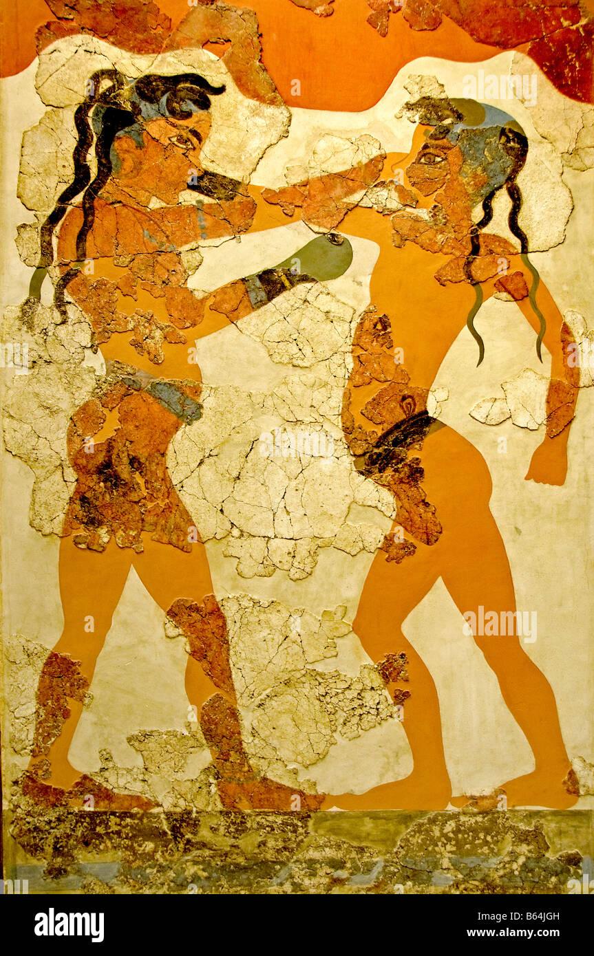 Boxing Children Knossos, Crete 550 B.C. fresco famous ...