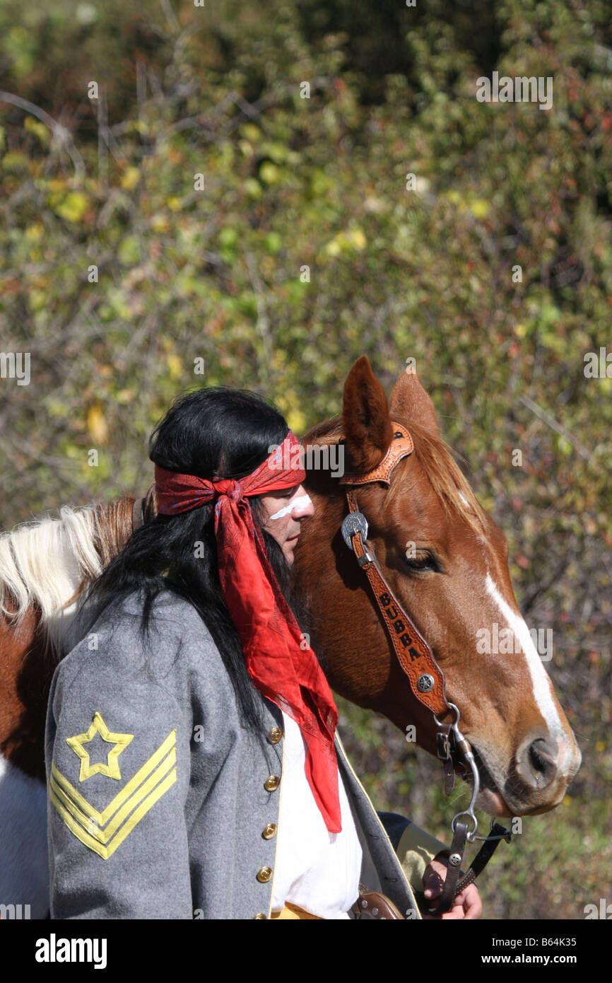 apache native american indian and a horse stock photo royalty