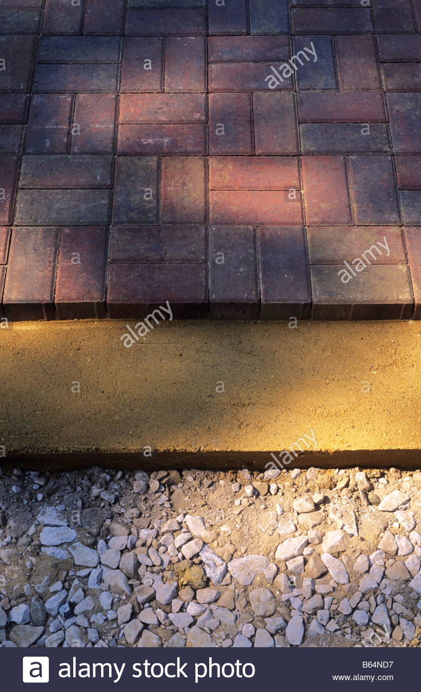 Stock Photo   Practical Showing Paving Patio Layes Sub Base Bedding Sand  And Pavers