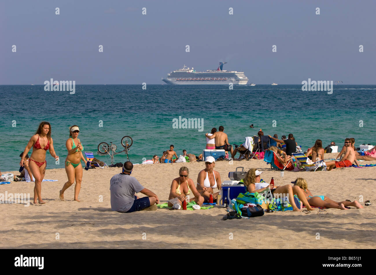 People Relaxing On A Beach Fort Lauderdale Gold Coast Florida United States Of America