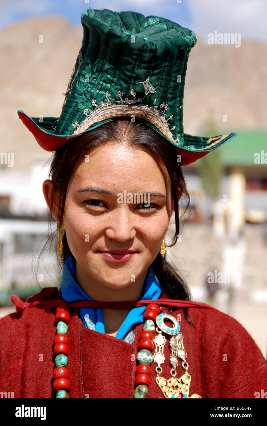 A ladakhi woman wearing traditional ladakhi dress in for Traditional photos
