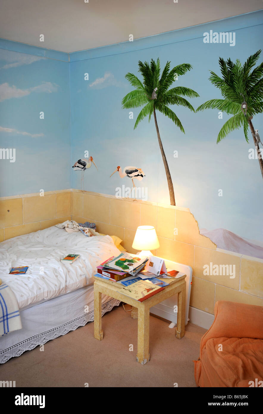 a childs nursery with hand painted wall murals uk stock photo a childs nursery with hand painted wall murals uk