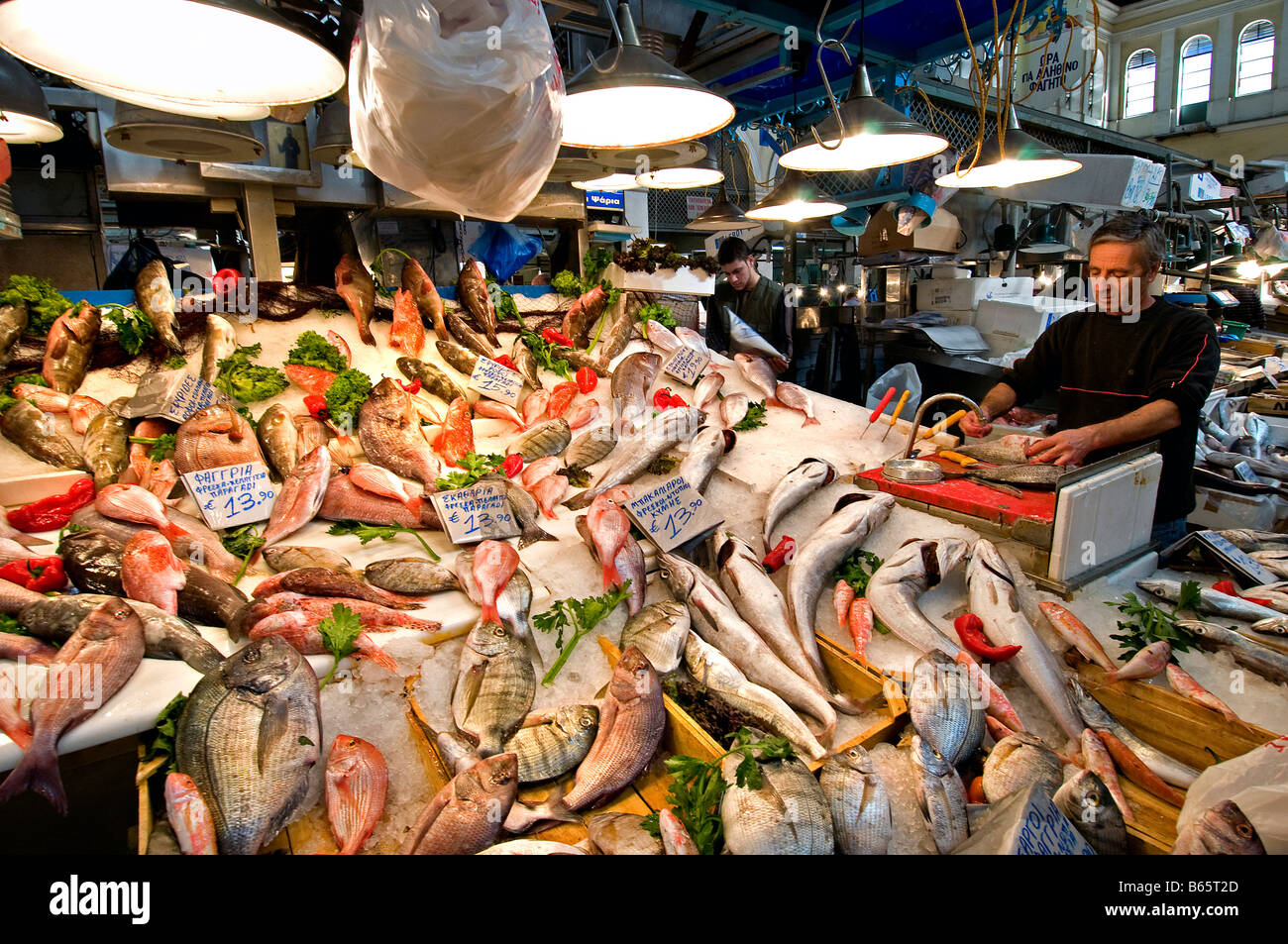 Fishmonger central food meat market athens greece greek for Fish market hours