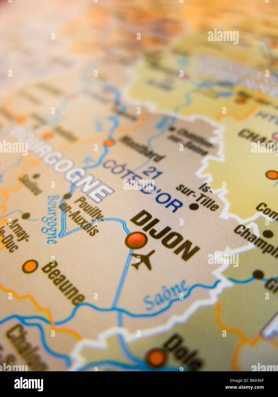 Map of France showing Dijon and its surrounding areas Stock Photo