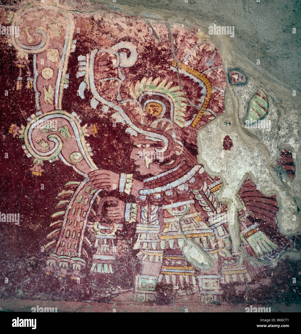 Mexico teotihuacan tepantitla mural stock photo royalty for Aztec mural painting