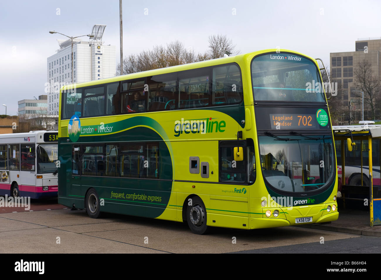 Double Decker Greenline Bus at Bracknell Bus Station Stock ...