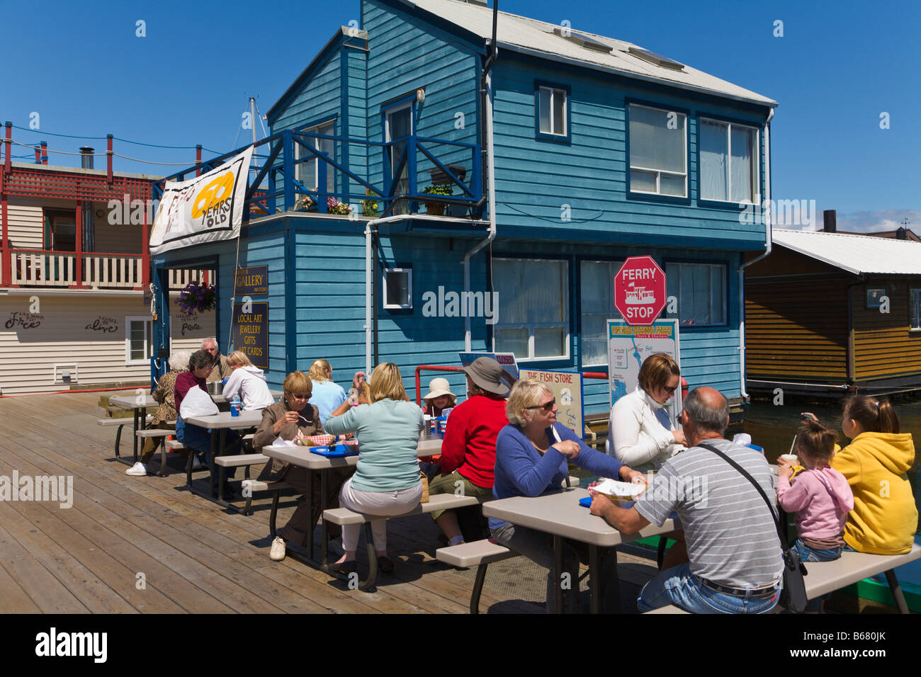 """People eating Fish and Chips """"Fishermans Wharf"""" Victoria """"Vancouver Stock Photo, Royalty Free ..."""