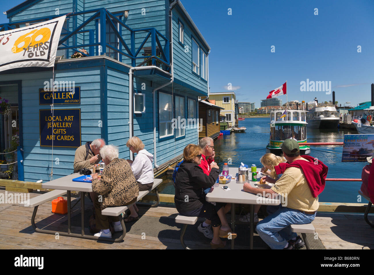 "People eating Fish and Chips ""Fishermans Wharf"" Victoria ""Vancouver Stock Photo, Royalty Free ..."