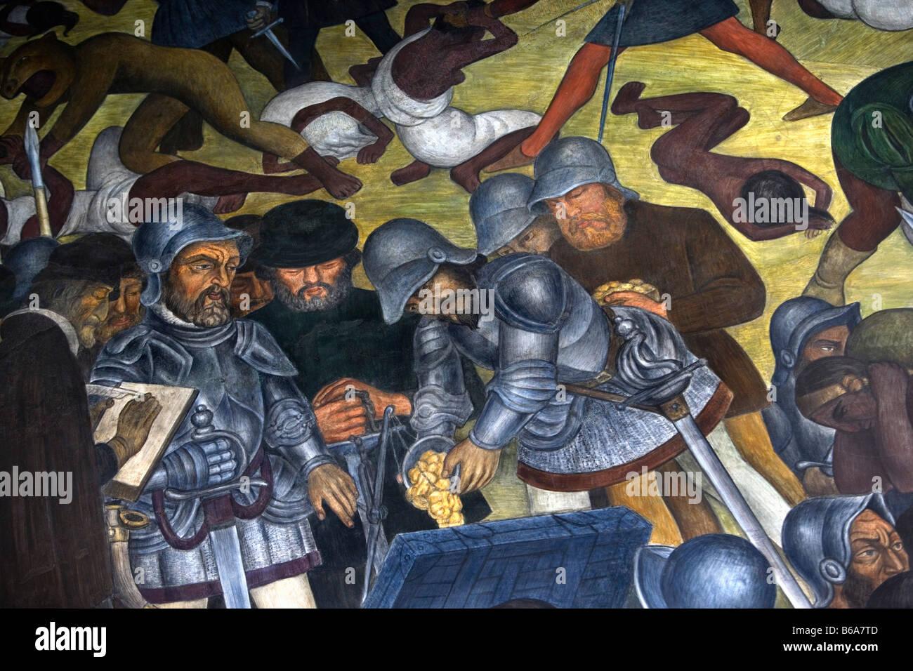 Mexico cuernavaca murals of diego rivera in palacio de for Diego rivera la conquista mural
