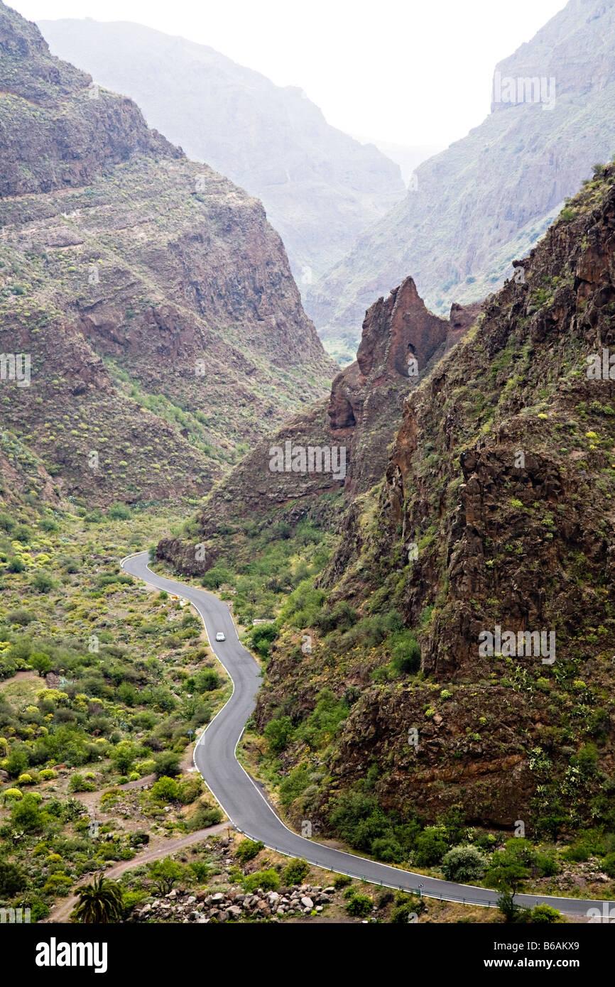 Road through mountain gorge the Barranco de Guayadeque Gran Canaria Stock Pho...
