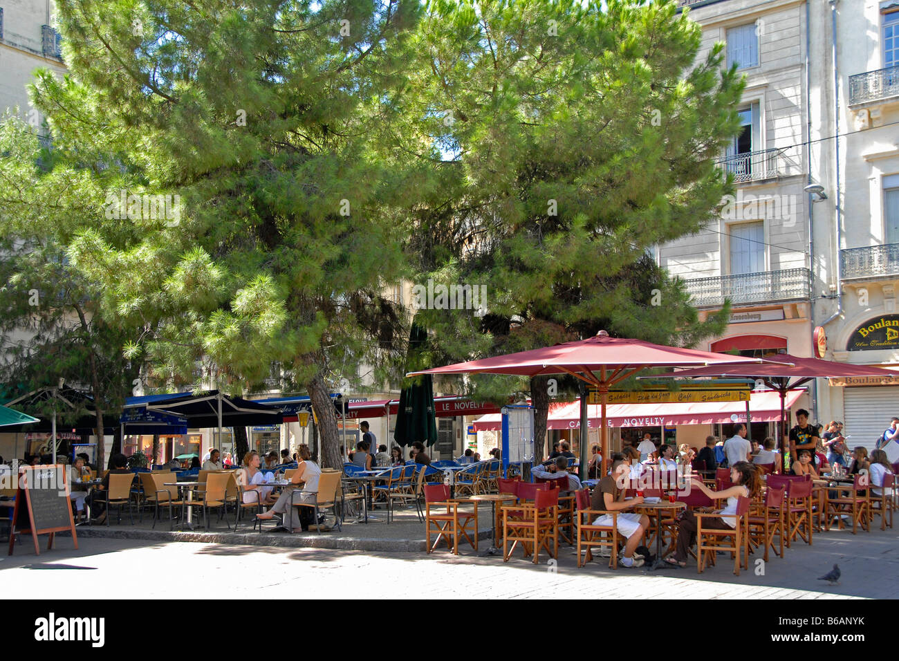 beer garden of a restaurant montpellier france stock photo royalty free image 21135063 alamy. Black Bedroom Furniture Sets. Home Design Ideas