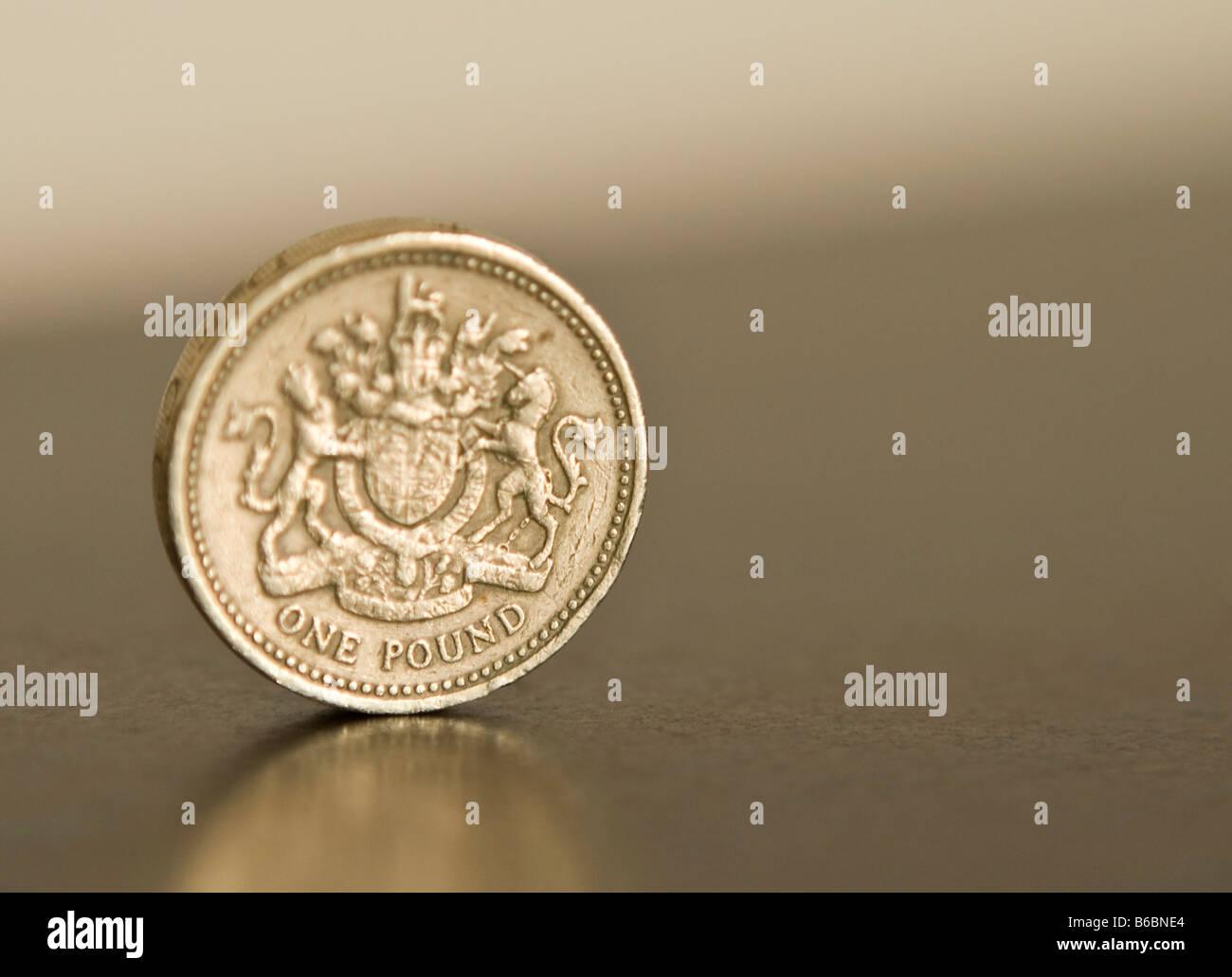 British Pound Coin Staged Photo Stock