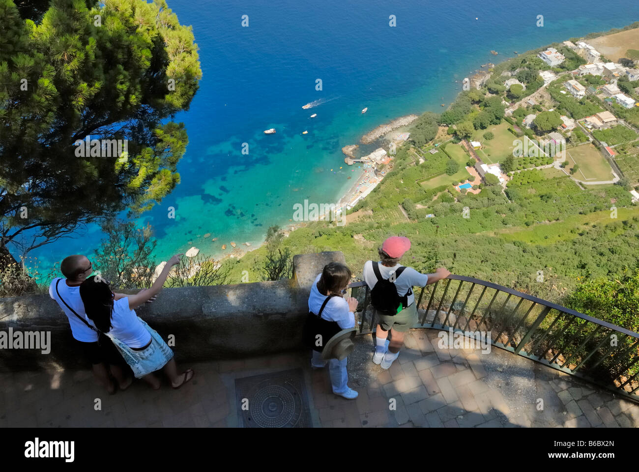 Gulf of Naples and the Bagno di Tiberio, seen from the Anacapri ...