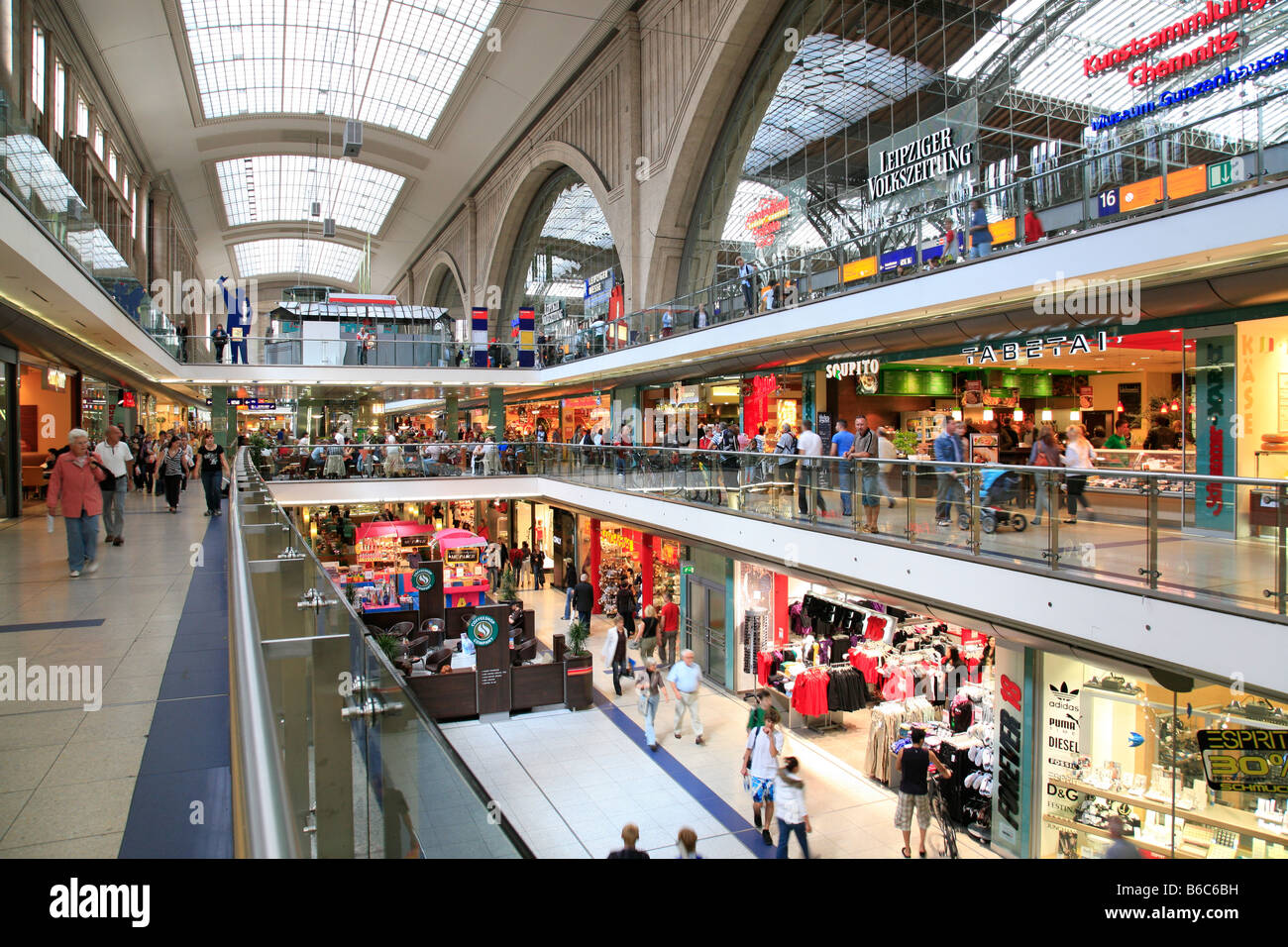 shopping mile 39 promenaden 39 in the central station of leipzig germany stock photo royalty free. Black Bedroom Furniture Sets. Home Design Ideas