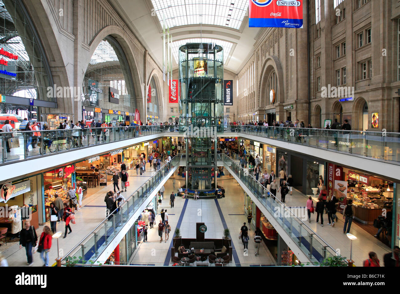 shopping mile so called promenaden in the central station of leipzig stock photo royalty free. Black Bedroom Furniture Sets. Home Design Ideas