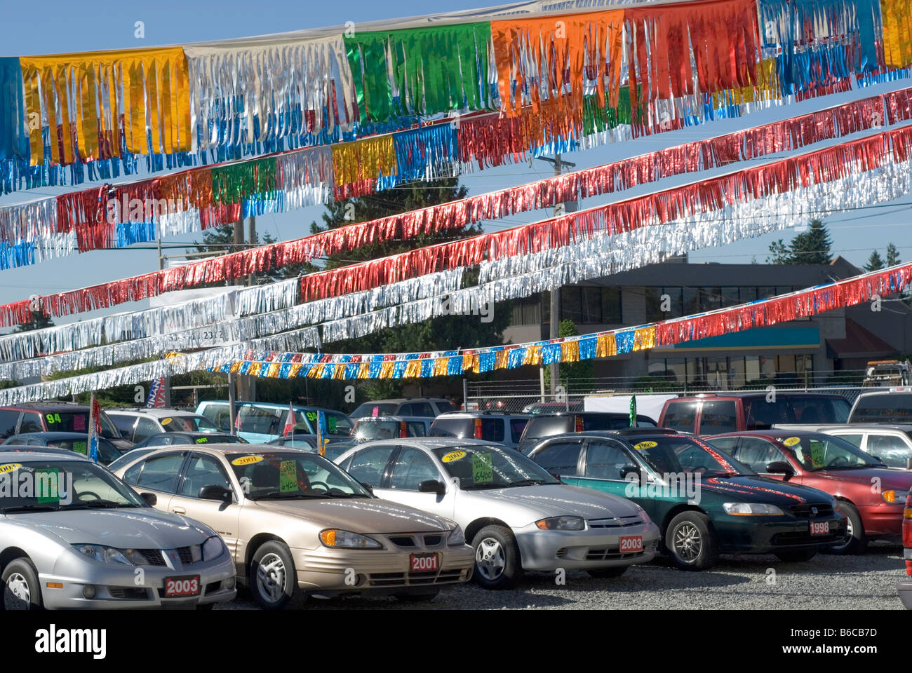 Used Car Lot >> Used Car Lot With Shiny Banners Overhead Stock Photo Royalty Free