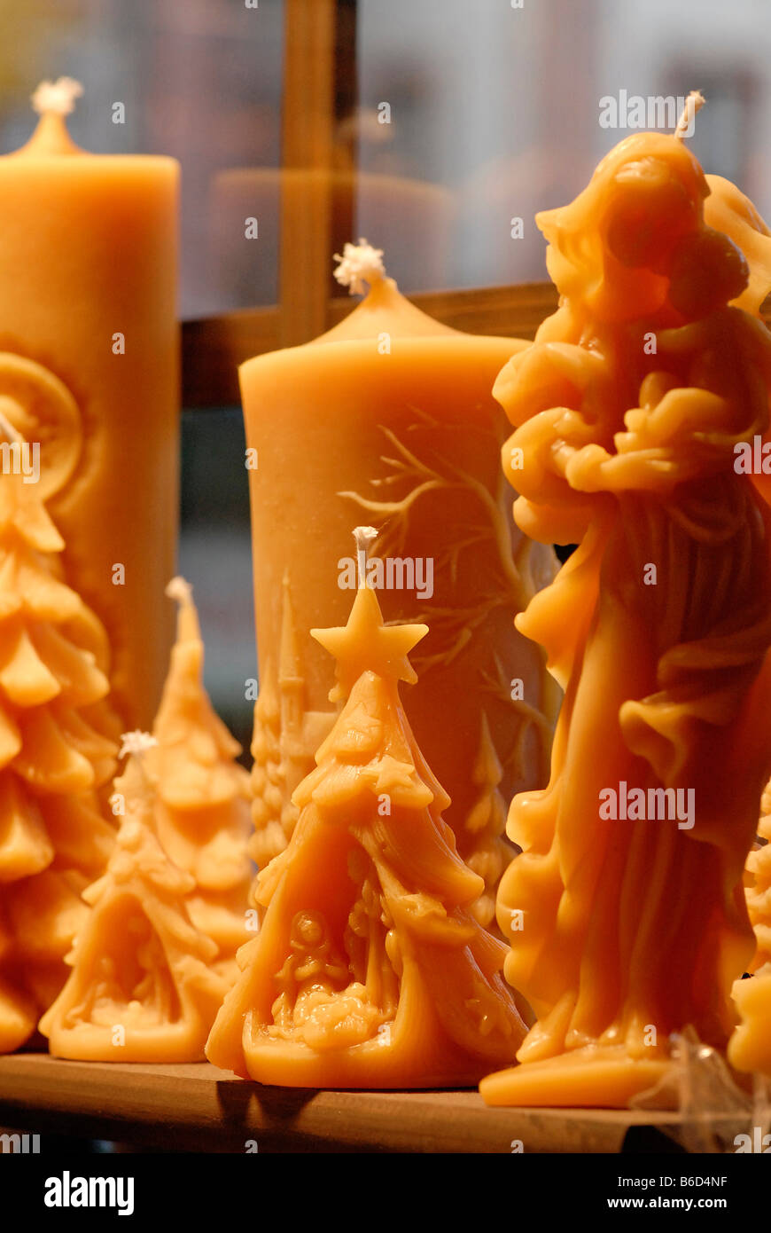 motives from a christmas market in a german city beeswax candles