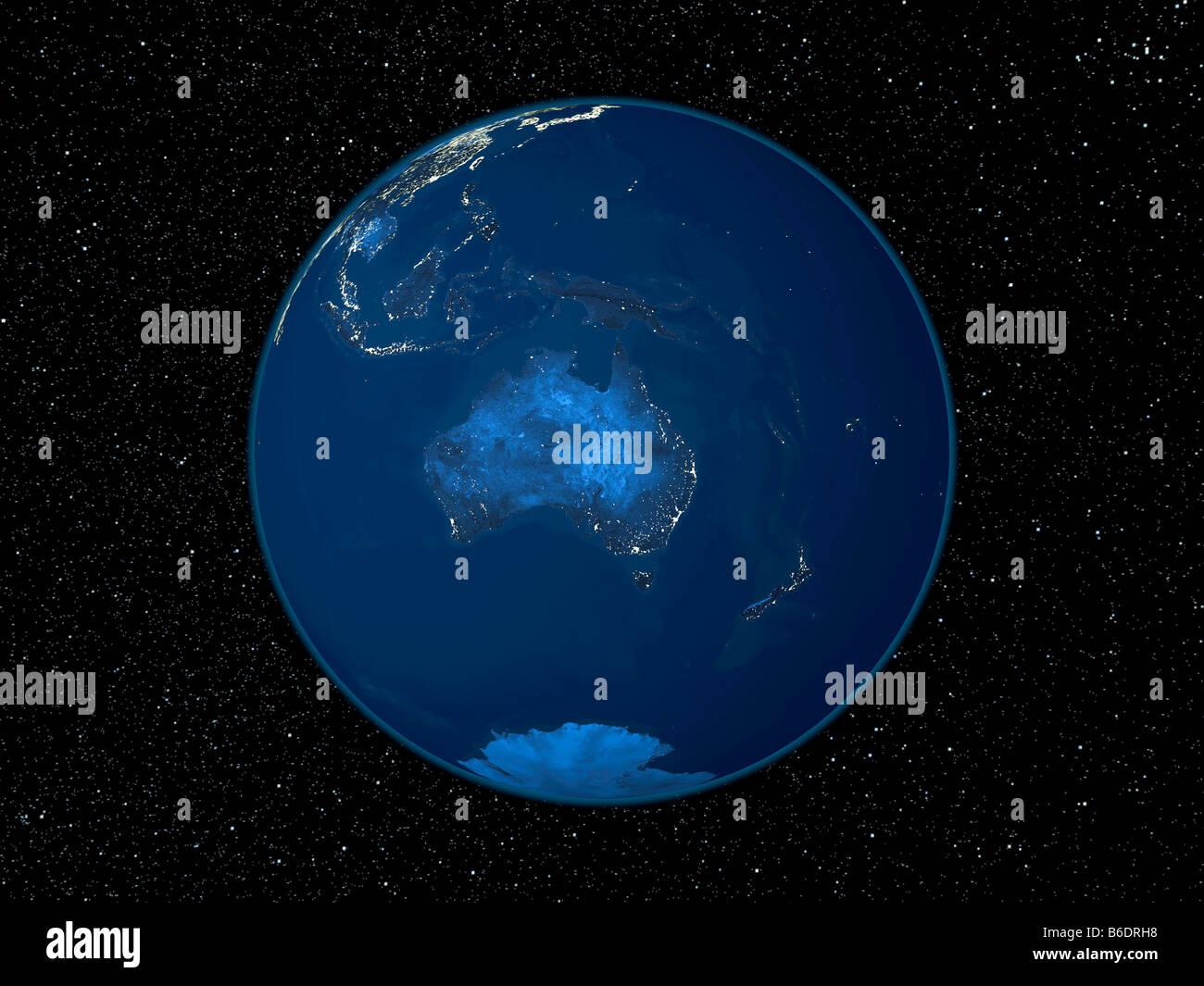Australia At Night Satellite Image Of The Earth At Night Centred - Satellite from earth