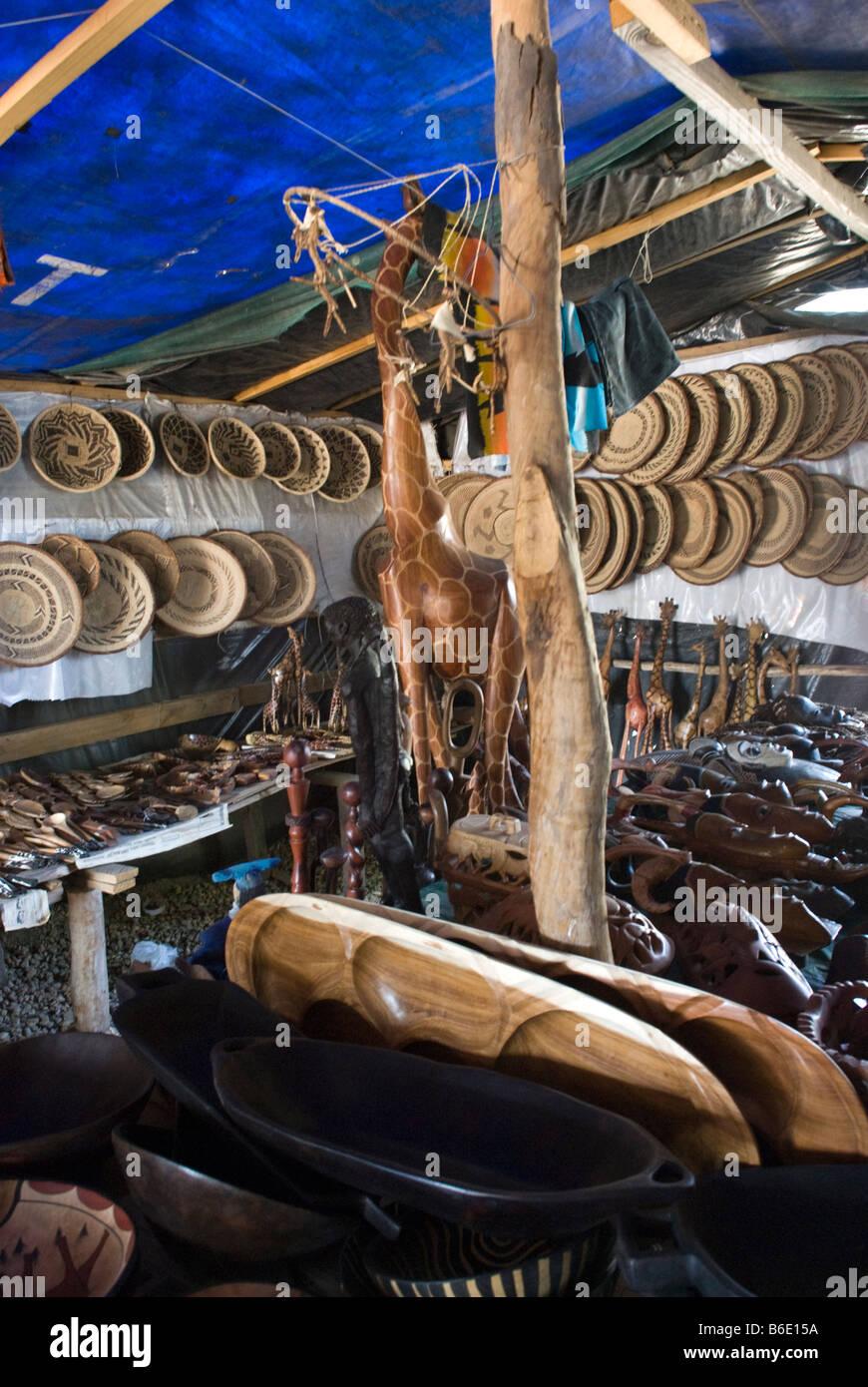 The craft and wood carving market okahandja namibia stock