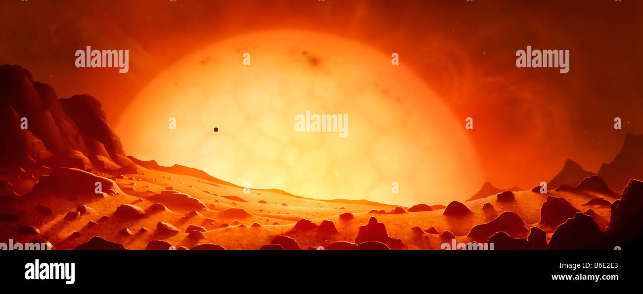 Future red giant Sun, artwork. View from Earth of the red ...