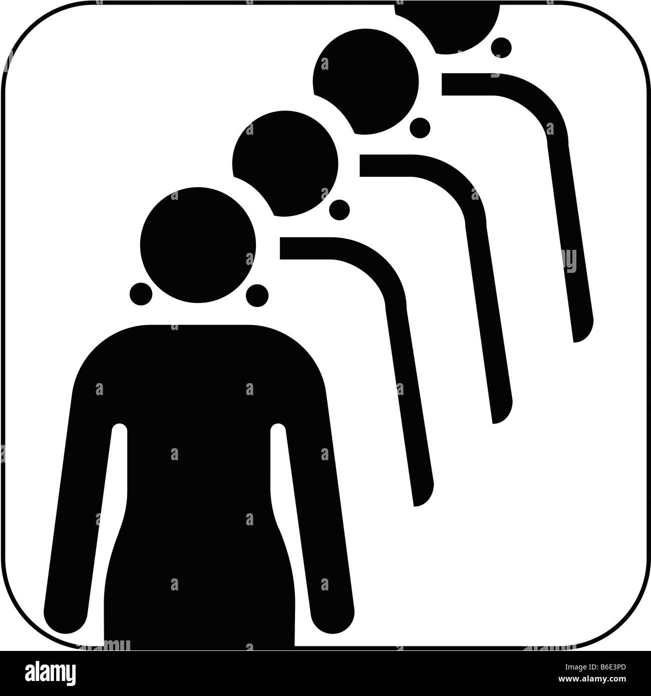 Female queue symbol against white background   Stock Image. Female Toilet Queue Stock Photos   Female Toilet Queue Stock