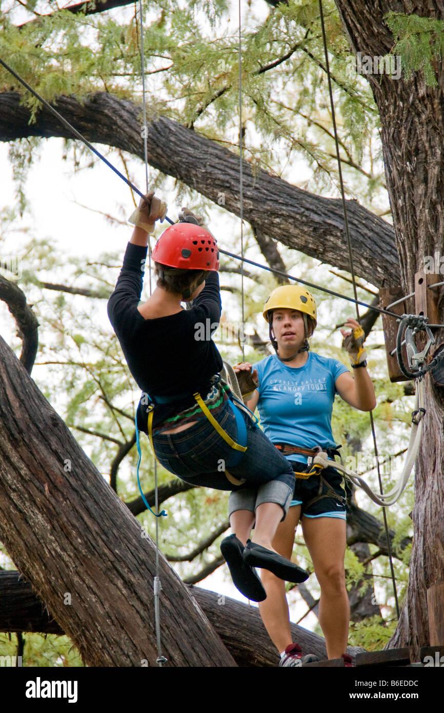 Austinu0027s Cypress Valley Canopy Tours zipline amusement & Austinu0027s Cypress Valley Canopy Tours zipline amusement Stock ...