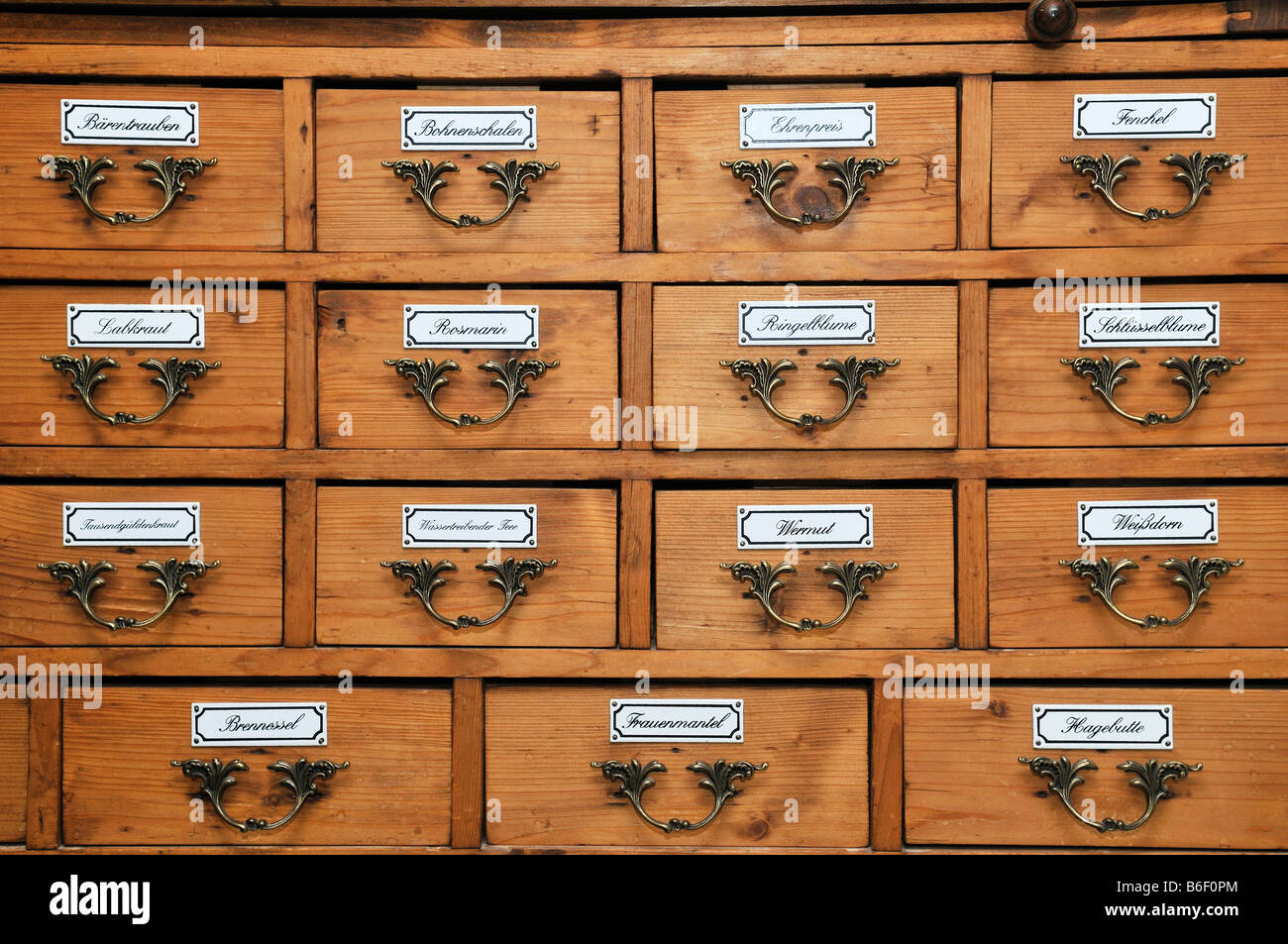 Historic pharmacist\'s cupboard for medicinal herbs, Germany Stock ...