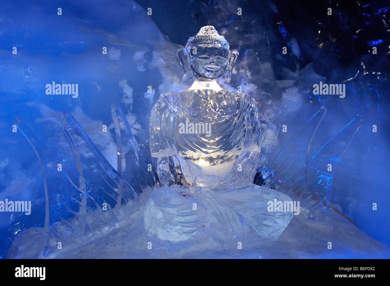ice buddha statue in an ice cave in the gletscherpalast or. Black Bedroom Furniture Sets. Home Design Ideas