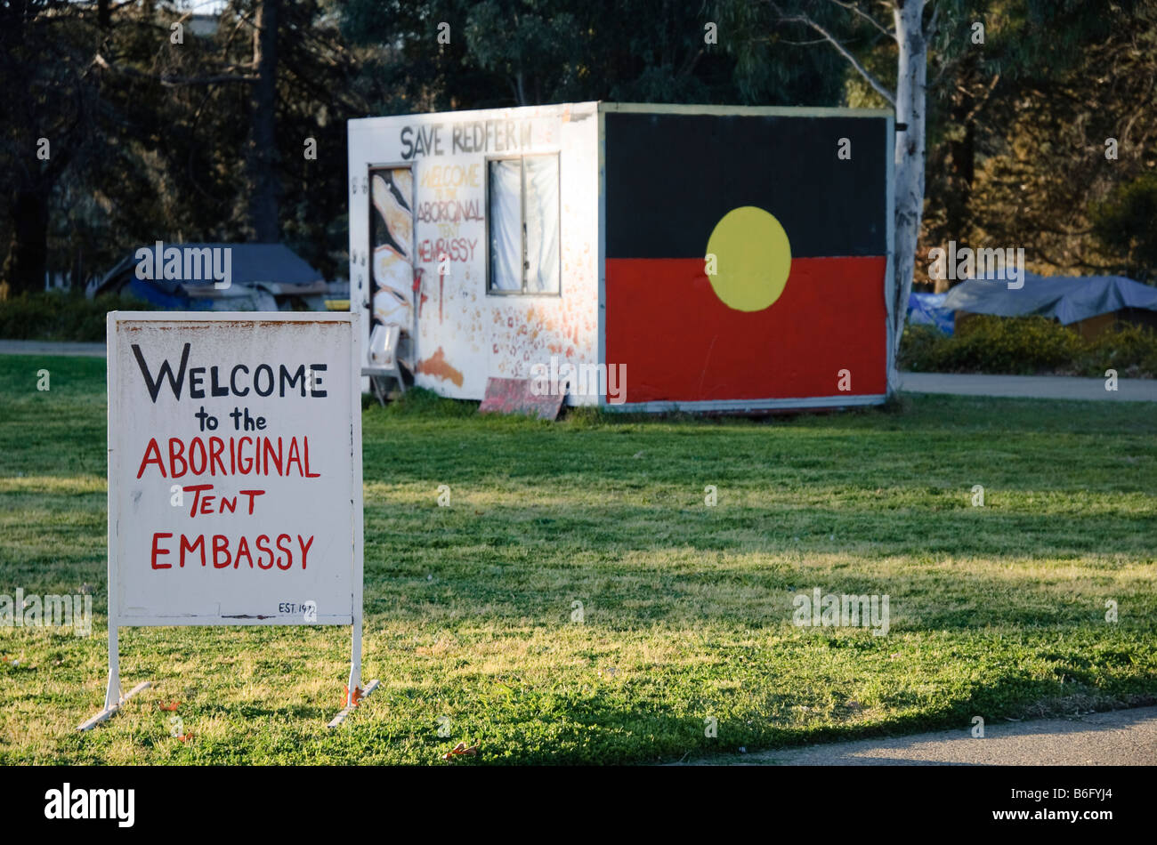 Office of the Aboriginal Tent Embassy Canberra Australia on the lawns of Old Parliament House with a welcome sign. Australian protest; controversy & Office of the Aboriginal Tent Embassy Canberra Australia on the ...