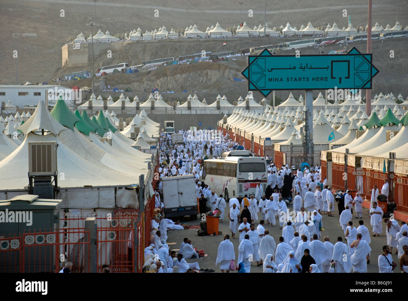 Muslim pilgrims arriving the european part of the tent village Mina on the first day of hajj Makkah Saudi Arabia & Muslim pilgrims arriving the european part of the tent village ...