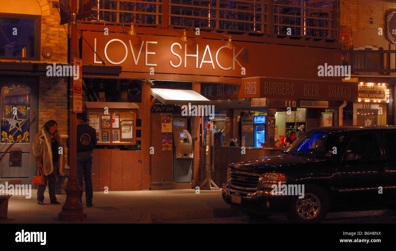 The love shack restaurant and bar in the ft worth stockyards stock image