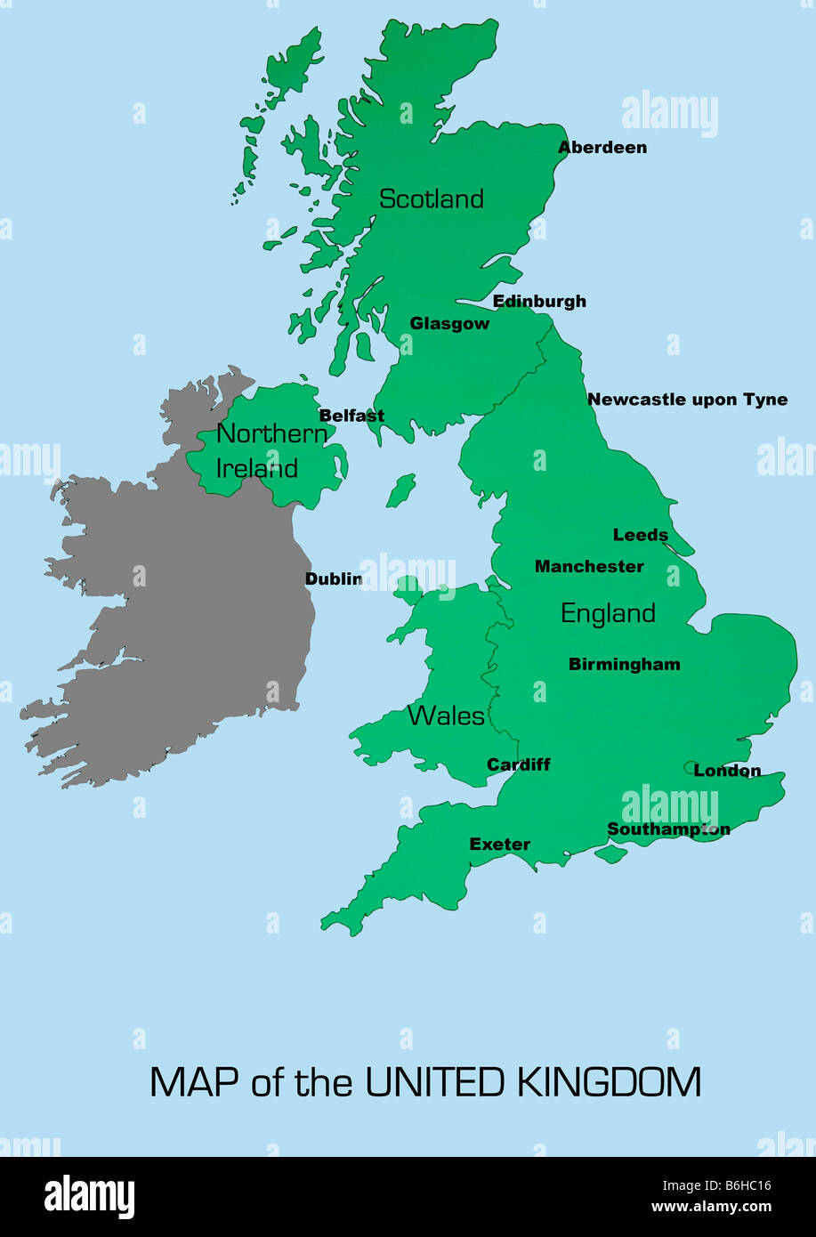 UK Map Showing England Scotland Wales And Northern Ireland With - Cities map of ireland