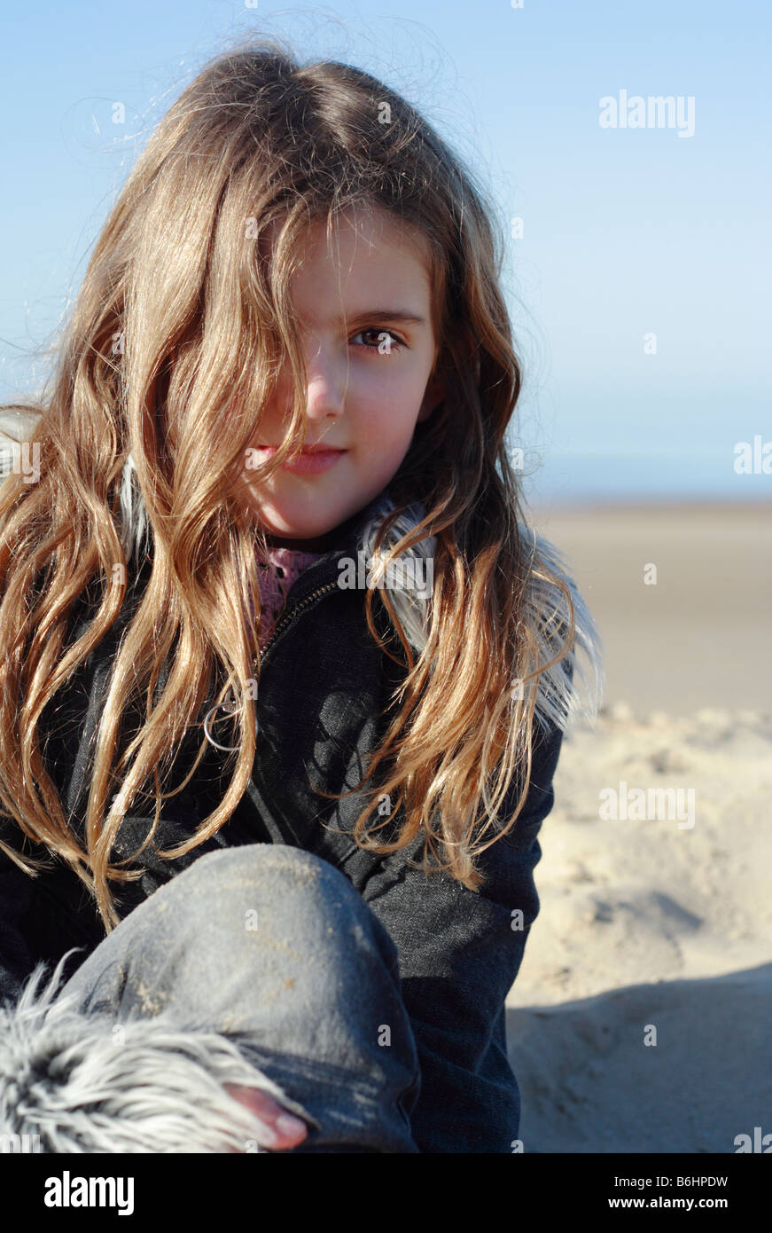 Outstanding Pretty Eight Year Old Girl At The Seaside Stock Photo Royalty Hairstyles For Men Maxibearus