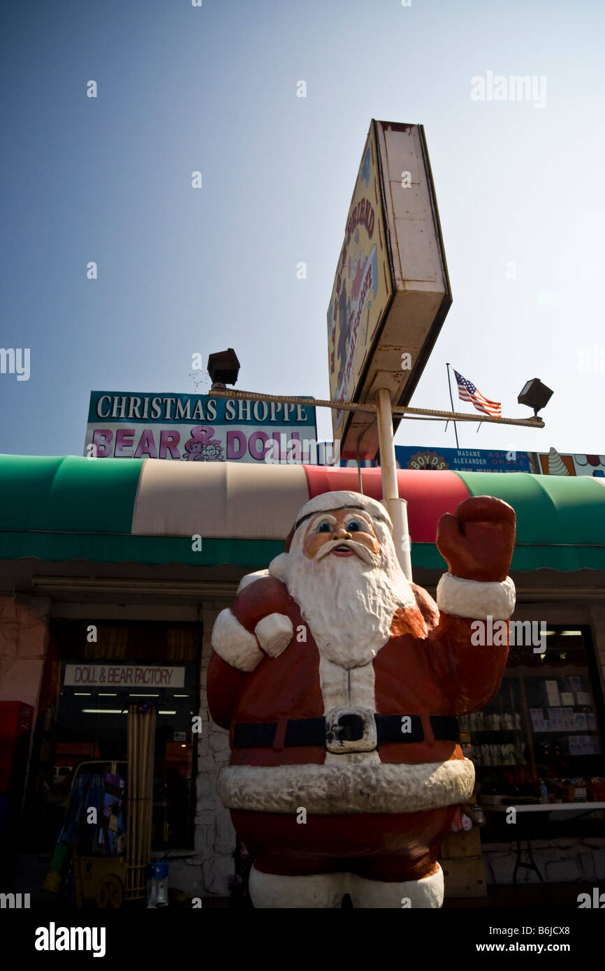 Store front of tacky tourist trap Christmas store featuring a ...