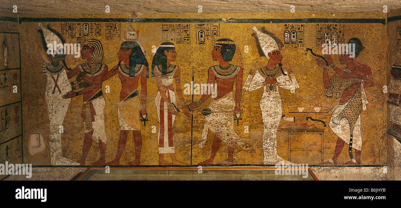 Egypt king tut tomb wall valley of the kings stock photo for Egypt mural painting