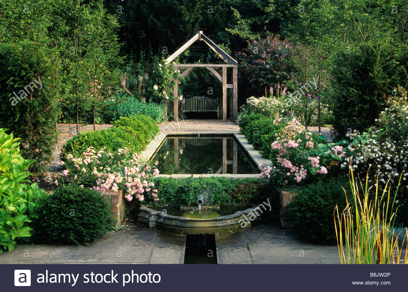 Wollerton Old Hall Shropshire Formal Rectangular Pond And Rill With Stock Photo Royalty Free