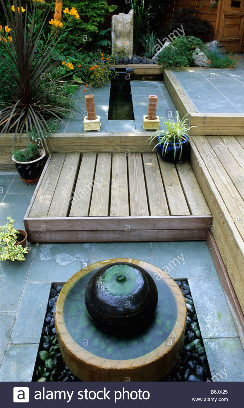 Stock Photo   Private Garden London Design Kristina Fitzsimmons Split Level  Patio Garden With Rill Water Feature And Fountain