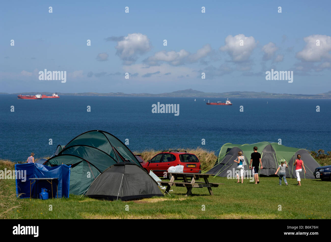 Tents on coastal c&site West Hook Farm Marloes Pembrokeshire Wales UK Europe & Tents on coastal campsite West Hook Farm Marloes Pembrokeshire ...
