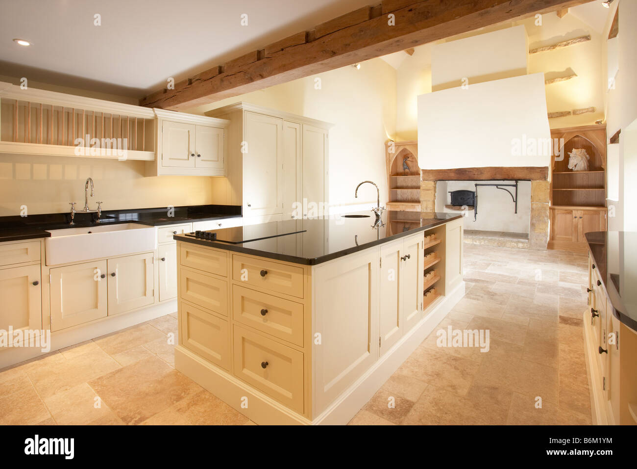 Limestone Kitchen Floor Modern Cream Quaker Style Kitchen In Old House With Inglenook