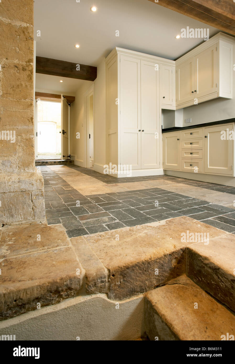 Farmhouse Brick Flooring Tile : New utility room kitchen in cotswold farmhouse with stone