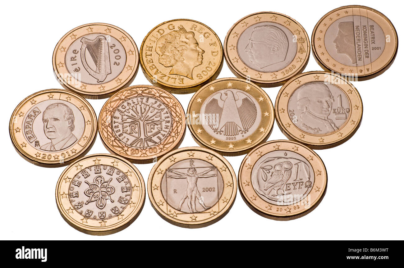ten 1 euro coins and british pound coin stock photo royalty free image 21340420 alamy. Black Bedroom Furniture Sets. Home Design Ideas