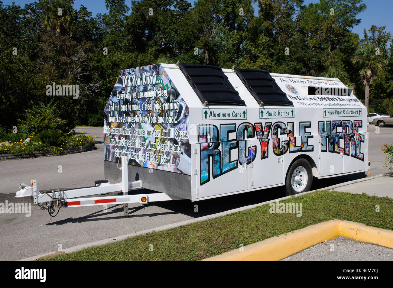 Mobile recycling trailer unit for metal cans bottles and paper stock photo royalty free image - Recycling mobel ...