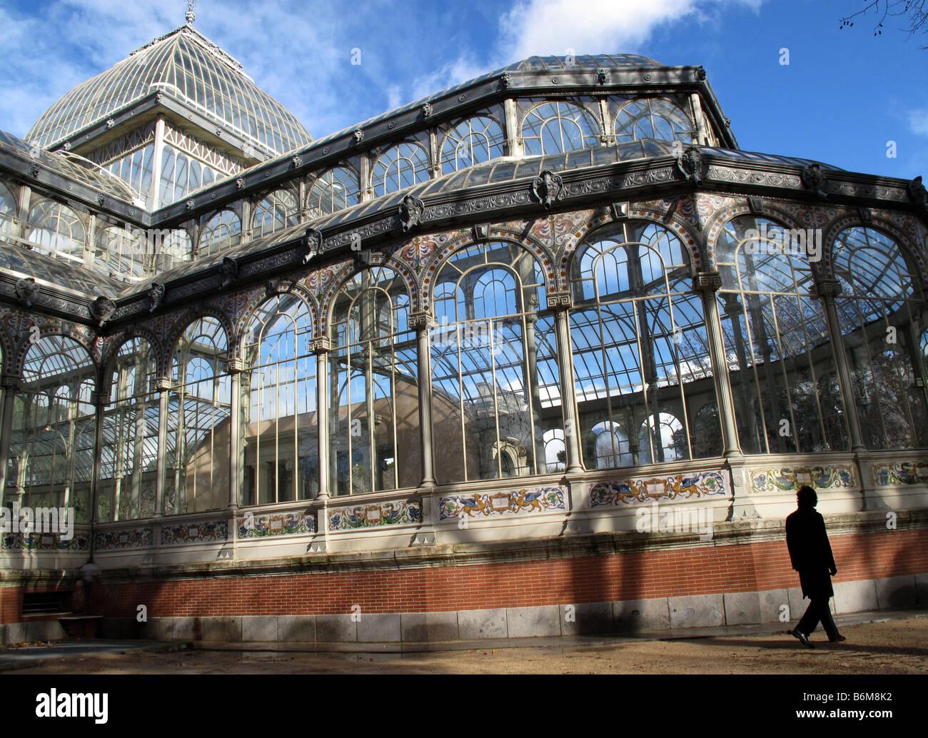 crystal palace glass pavilion in retiro park madrid spain stock