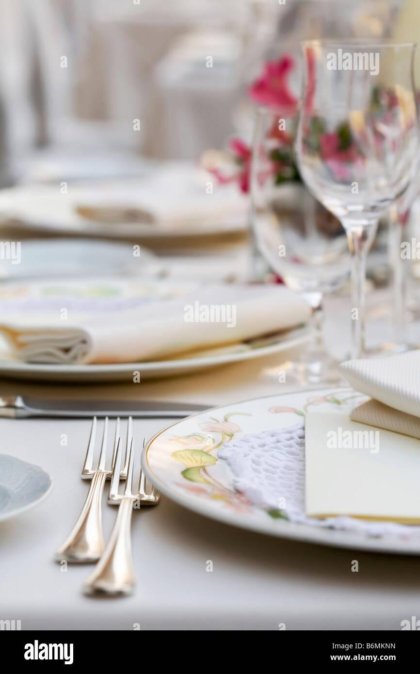 Fancy restaurant table setting - Stock Photo Fine Restaurant Table Setting